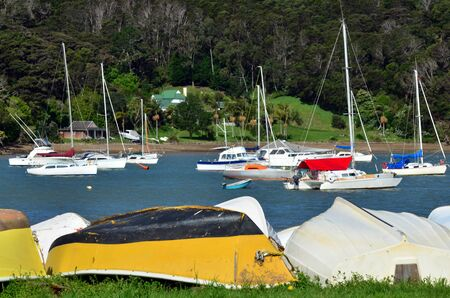 sheltered: Sailing boats mooring in sheltered Island bay. Editorial