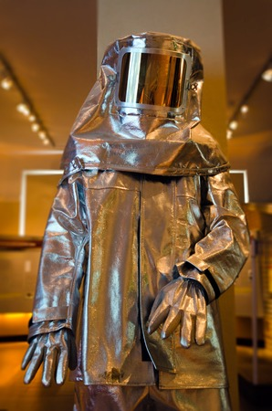 protective suit: A full fire proximity suit. Stock Photo