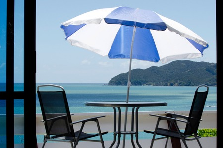 seaview: Balcony with seaview during summer vacation. Stock Photo