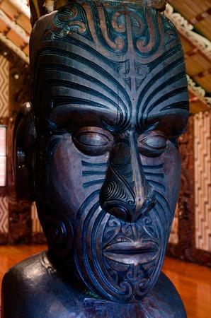 aotearoa: Maori wall carvings in a Marae (meeting house).