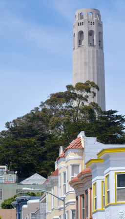 coit: Coit Tower and old colourful buildings in San Francisco California Stock Photo