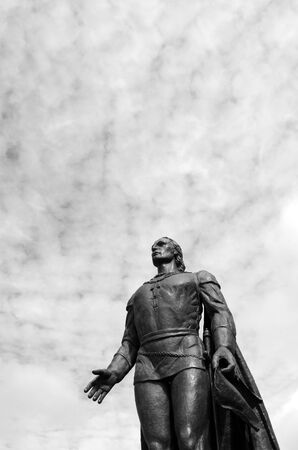 Christopher Columbus sculpture against sky in San Fransisco, California. copy space (BW) Stock Photo