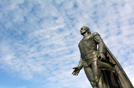 colonizer: Christopher Columbus sculpture against sky in San Fransisco, California. copy space