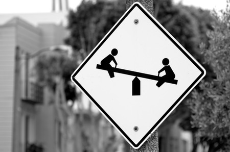 residential zone: Children playground road sign in residential area , school and a park.
