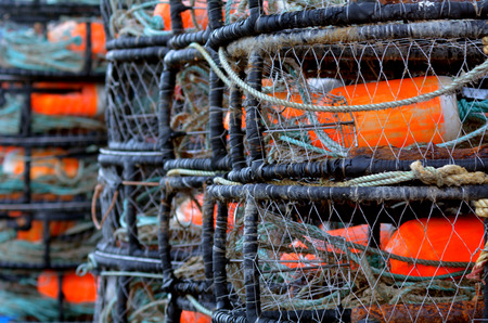 crab pot: Round crabs fishing traps background. Stock Photo
