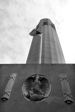 coit: Looking up at Coit  Tower in in San Francisco, California. (BW) Vertical