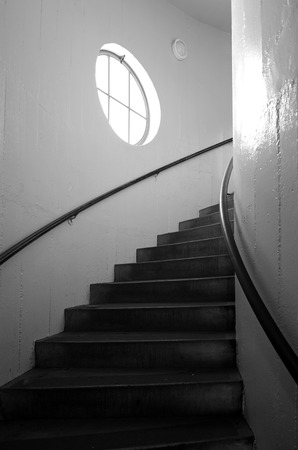 telegraph hill: The spiral staircase of Coit Tower in San Francisco, California. Editorial
