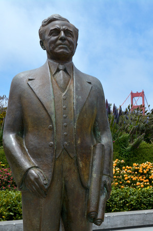 ca he: SAN FRANCISCO - MAY 20 2015:Joseph Strauss Memorial at the Golden Gate Bridge in San Francisco, CA. He was American structural and the chief engineer of the Golden Gate Bridge that opened in 1937. Editorial