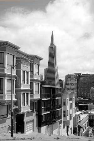transamerica: SAN FRANCISCO - MAY 18 2015:Transamerica Pyramid in San Francisco downtown. At 853 ft (260 m), on completion in 1972 it was the eighth tallest building in the world.