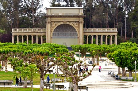 concourse: SAN FRANCISCO - MAY 19 2015:Visitors at Music Concourse in Golden Gate Park San Francisco, California. The Music Concourse is an open-air plaza within Golden Gate Park in San Francisco. Editorial