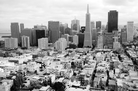 transamerica: SAN FRANCISCO - MAY 15 2015:Aerial view of San Francisco financial center skylin.Its the most densely large city in California and 2cond-most in the US after New York City