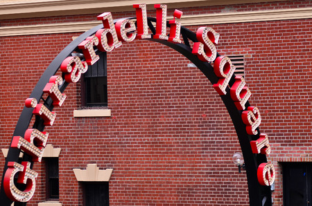fisherman: SAN FRANCISCO - MAY 17 2015:Ghirardelli Square entrance.Its a famous landmark public square with shops and restaurants in the Fishermans Wharf area of San Francisco, California.