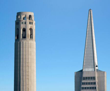 coit: SAN FRANCISCO - MAY 15 2015:Coit Tower and Transamerica Pyramid dominant San Francisco skyline.Coit Tower listed as San Francisco Designated Landmark and on the National Register of Historic Places.