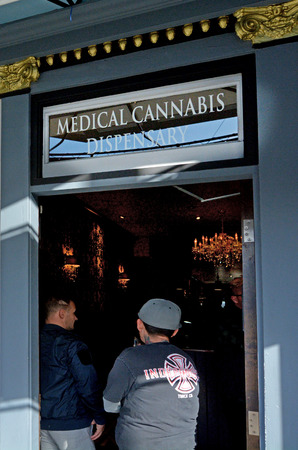 enact: SAN FRANCISCO - MAY 17 2015:Medical cannabis dispensary. California became the first state to enact protections for medical cannabis patients when voters approved the Compassionate Use Act, in 1996.