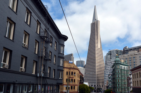 transamerica: SAN FRANCISCO - MAY 20 2015:Transamerica Pyramid in San Francisco financial district.Its observation deck on the 27th floor was closed after the September 11, 2001 attacks, and replaced by the virtual observation deck. Editorial
