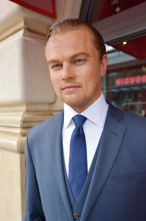 nominated: SAN FRANCISCO - MAY 18 2015:Leonardo DiCaprio wax figure outside Madame Tussauds museum.Hes an American actor and film producer, nominated for 10 Golden Globe Awards winning 2 and 5 Academy Awards Editorial