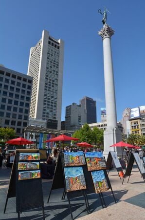 dewey: SAN FRANCISCO - MAY 15 2015:Dewey Monument in San Francisco Union Square.Its a major tourist attraction gathering place in downtown San Francisco  one of the worlds premier shopping districts Editorial
