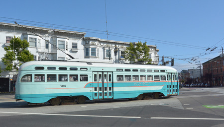 streetcar: SAN FRANCISCO - MAY 15 2015:One of San Franciscos original double-ended PCC streetcars.PCC car is a long-lasting icon of streetcar design they are still in service in various places around the world. Editorial