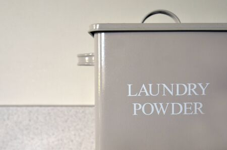 powder room: Vintage old Laundry powder box in laundry room. Stock Photo