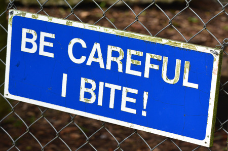 be alert: Be carful I bite sign. concepts and ideas