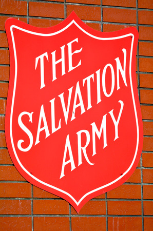 HAMILTON, NZL - MAY 28 2015:Salvation Army sign.Present in 126 countries with charity shops, operating homeless shelters and providing disaster relief and humanitarian aid to developing countries.
