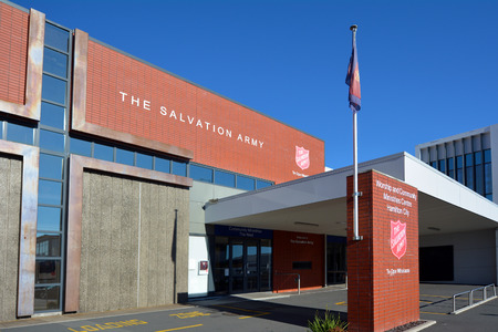 denominational: HAMILTON, NZL - MAY 28 2015:Salvation Army center.The organization reports a worldwide membership of over 1.5 million,consisting of soldiers, officers and adherents known as Salvationists.