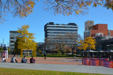 HAMILTON, NZL - MAY 22 2015:Hamilton Garden place. Hamilton is home to approximately 40,000 tertiary students and 1,000 PhD-qualified scientists. Redakční