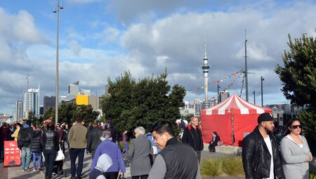 ethnically diverse: AUCKLAND - AUG 01 2015:Mixed race people visit at Wynyard Quarter in Auckland, New Zealand. Auckland is one of the most ethnically diverse cities in the world.