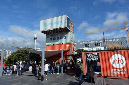 ranked: AUCKLAND - AUG 01 2015:Visitors at Wynyard Quarter in Auckland New Zealand. In 2014 Auckland has again been ranked the tenth most liveable city in the world.