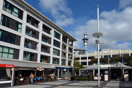 ethnically diverse: AUCKLAND - AUG 01 2015:Visitors in Market Square at viaduct basin in Auckland - New Zealand.Auckland is one of the most ethnically diverse cities in the world.