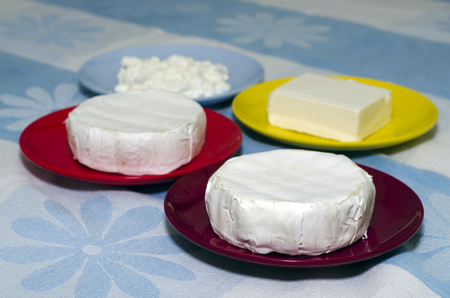 four of a kind: Four plates with four different kind of cheese on a table during Shavuot Jewish Holiday.