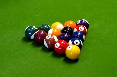 pool game: Pool Game (Pocket Billiards) balls during a game on a pool table.