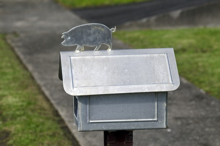 mail box: Siver pig on a mail box. Stock Photo