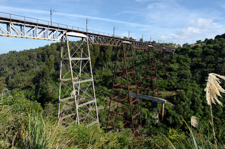 steel girder: Makatote viaduct railway bridge (78.6 m high ) Its the 3rd highest railway viaduct in New Zealand. This viaduct is of steel girder construction, is 262 m long and was opened in 1908.