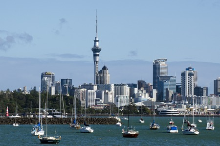 Auckland skyline as seen from Hobson bay in Auckland, New Zealand.