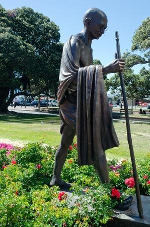 mahatma: Mahatma Gandhi. The monument in Wellington, New Zealand. Stock Photo