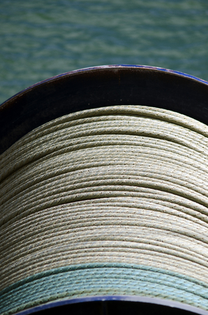 nylon string: Fishing cable drum on a trawler boat.
