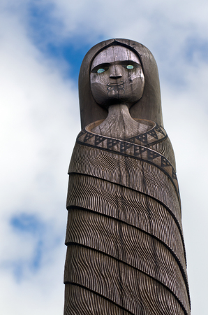 intriguing: A wood carved figure of a Maori female.