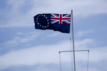 rarotonga: The Cook Islands national flag wave in the wind in Avarua in Rarotonga Cook Islands.