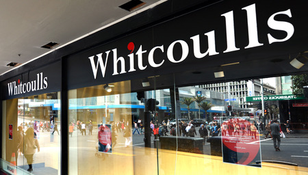 bookstore: AUCKLAND -  AUG 06 2015:Whitcoulls books store on Queens street.Its a major national bookstore chain in New Zealand closed down as sales of printed books fall because e-books in the last 5 years.