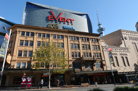 finanical: AUCKLAND,  NZL - AUG 11 2015:Event Cinemas on Queen street in Auckland CBD Finanical cetre, New Zealand.Event Cinemas  is a group of cinema multiplexes across Australia, New Zealand and Fiji. Editorial