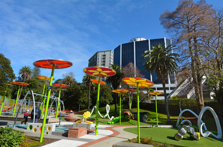 myers: AUCKLAND,  NZL - AUG 01 2015:The new Myers Park Playground.Myers Park developed in 1913 and for its 100-year anniversary a new playground was open. It one of top 10 playgrounds in Auckland for kids