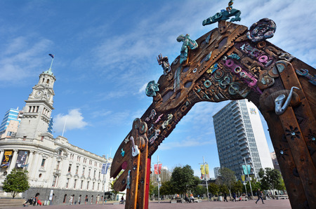 new entry: AUCKLAND,  NZL - AUG 01 2015:Traditional Maori entry gate at Aotea Square.It�s one of the biggest squares in New Zealand used for open-air concerts, gatherings, markets and political rallies.