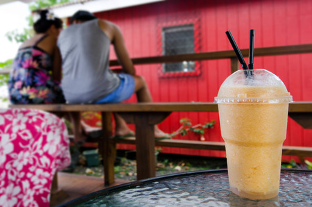 rarotonga: Fresh exotic fruit drink shake in the food market of in Rarotonga,  Cook Islands. Stock Photo