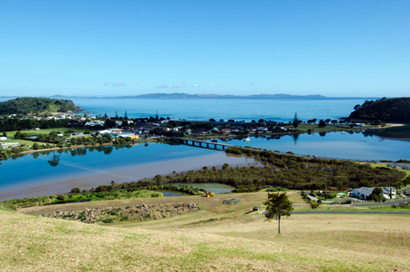inlet bay: Aerial view of Taipa town, river, inlet and Doubtless Bay at the background in Northland, New Zealand.