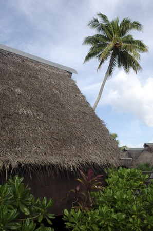 inferior: AITUTAKI - SEP 17:Traditional Polynesian house on Sep 17 2013.Its one of the only places in Cook Islands that Kika huts still exist as its considered inferior to European architecture.