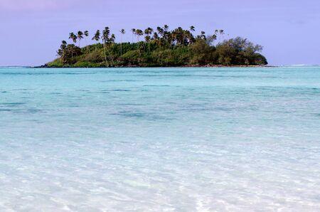 islet: Small coral islet at Muri Lagoon in Rarotonga Cook Islands.