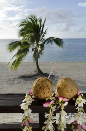 coconut palm: Two coconuts with straws on bungalow balcony during vacation in Aitutaki Lagoon Cook Islands