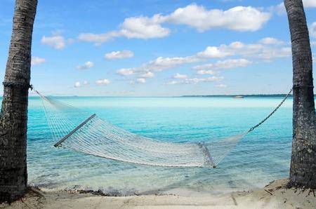 hammock: Paisaje de hamaca colgada entre dos �rboles de coco en Aitutaki Lagoon Islas Cook Foto de archivo