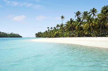 the south island: Landscape view of One foot Island in Aitutaki Lagoon Cook Islands.